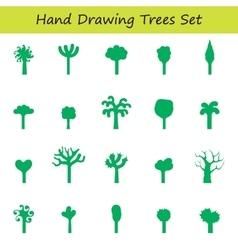 hand draw trees set vector image