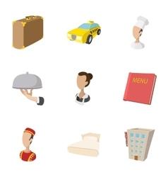 Hostel accommodation icons set cartoon style vector image vector image