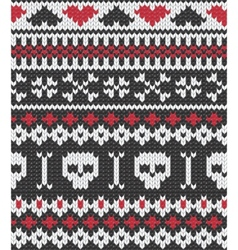 knitted pattern with skulls vector image