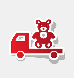 truck with bear new year reddish icon vector image