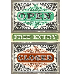 Vintage Label Set Open Closed Free Entry vector image
