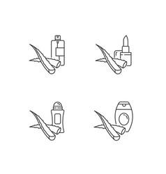 Aloe vera pixel perfect linear icons set vector