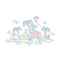 at the seaside - line travel vector image