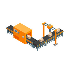 automated factory 3d isometric view isolated on a vector image