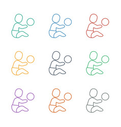 Baby playing with toy icon white background vector