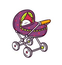 Baby stroller bright children isolated on w vector