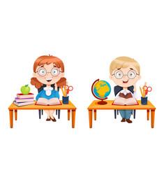 Back to school cute schoolgirl and schoolboy vector