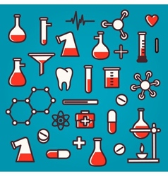 Background of scientific icons with reflection vector image
