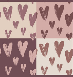 beautiful seamless pattern hearts vector image