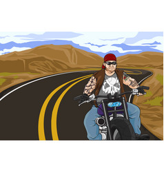 biker with tattoo vector image