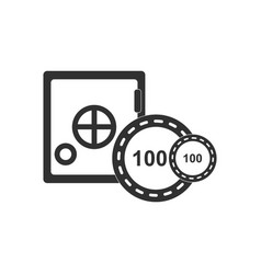 Black icon on white background safe and chips vector