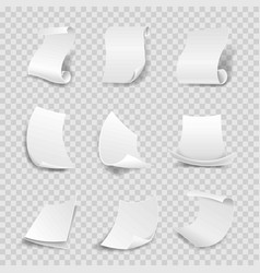 blank white paper sheets 3d rolls or curved vector image