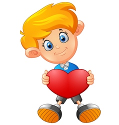 Boy with heart cartoon vector