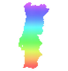 bright pixel portugal map vector image
