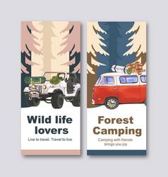 Camping flyer design with van backpack bucket hat vector