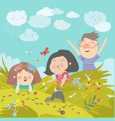 Cartoon kids look at insect in grass vector