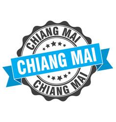 Chiang mai round ribbon seal vector