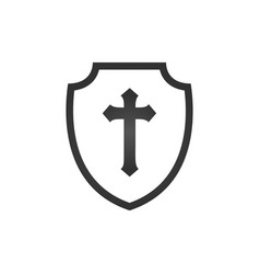 Christian cross and shield faith christian vector