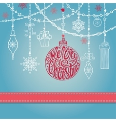 Christmas card with ballgarlandsgiftslettering vector