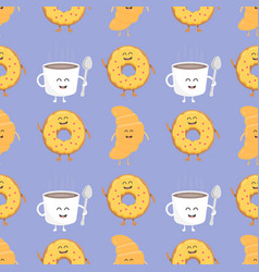 coffee and croissant seamless pattern template vector image vector image