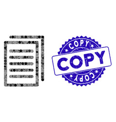 Collage copy icon with textured copy stamp vector