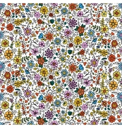 Colored seamless hand drawn patterns with flowers vector image