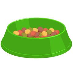 Colorful cartoon pet food bowl vector