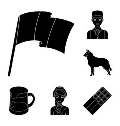 country belgium black icons in set collection for vector image