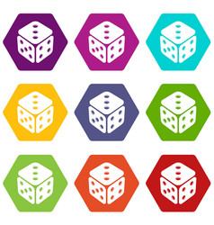cube casino icons set 9 vector image
