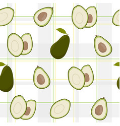 Cute avocado with white pattern grey checkered vector