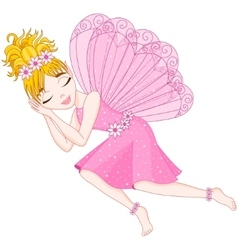 Cute fairy in pink dress is sleeping eps 10 vector image