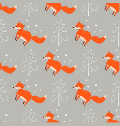 cute seamless pattern with little foxes fox with vector image