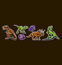 Dinosaur set predators of the jurassic period vector