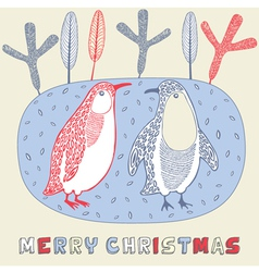 Doodle Christmas Penguin Card vector
