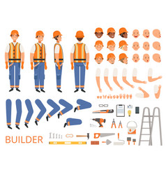 Engineer character animation body parts vector