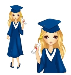Fashion Girl In Graduation Robe vector
