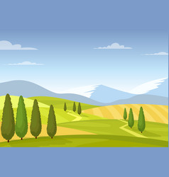 fields and meadows colorful rural landscape vector image