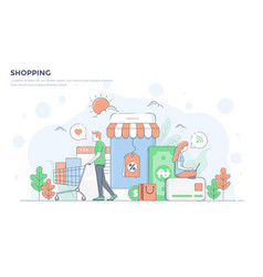 flat line modern concept - shopping vector image
