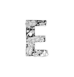 Floral letter for laser cutting or coloring book vector