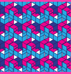 geometric pattern in retro style in red and blue vector image