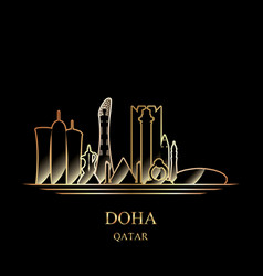 Gold silhouette of doha on black background vector