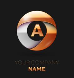 Golden letter a logo in the golden-silver circle vector