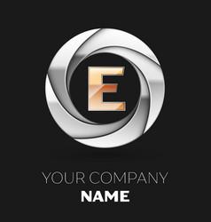 golden letter e logo symbol in the circle shape vector image