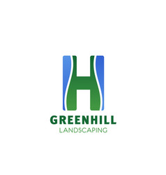 Greenhell landscaping letter h icon vector