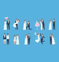groom and bride cartoon wedding couple in vector image