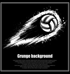 Grunge black volleyball background vector