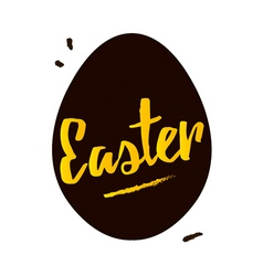 Happy Easter black and gold greeting card vector image