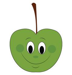 happy green apple vector image