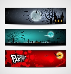 Happy Halloween day banner set design vector image