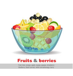 Juicy fruit salad glass bowl poster on white vector